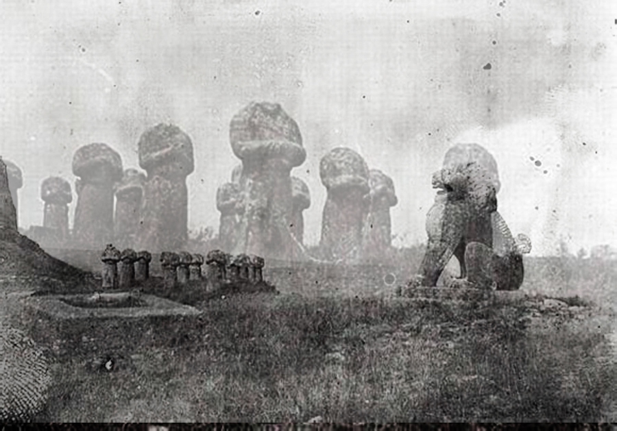 Spirit Road, digital composite, Shezad Dawood 2015, after an anonymous photographer (possibly French Sinologist: Edouard Chavannes, who travelled around China in 1907). Most of the imperial tombs of the Tang Dynasty possessed a spirit road.
