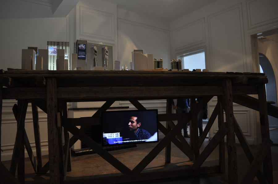 Adelita Husni-Bey, (ard, Land), 2014, installation view at Beirut, Cairo as part of White Paper: the Land architectural model and video. Photo by Ebrahim El Moly. Courtesy of the artist.