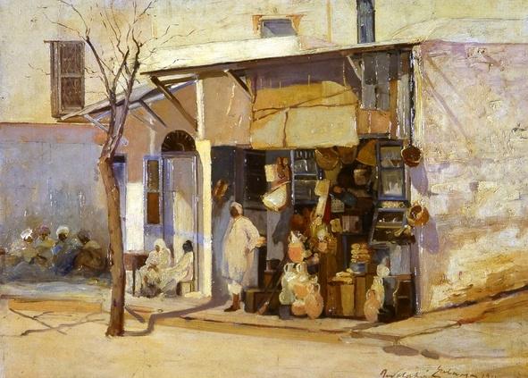 Rodolphe d'Erlanger, Scène de rue à Sidi Bou Saïd, huile sur toile, 50x73 cm.