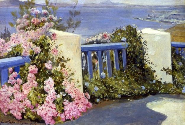 Rodolphe d'Erlanger, La baie, Les géraniums roses, huile sur toile, 36x53 cm.